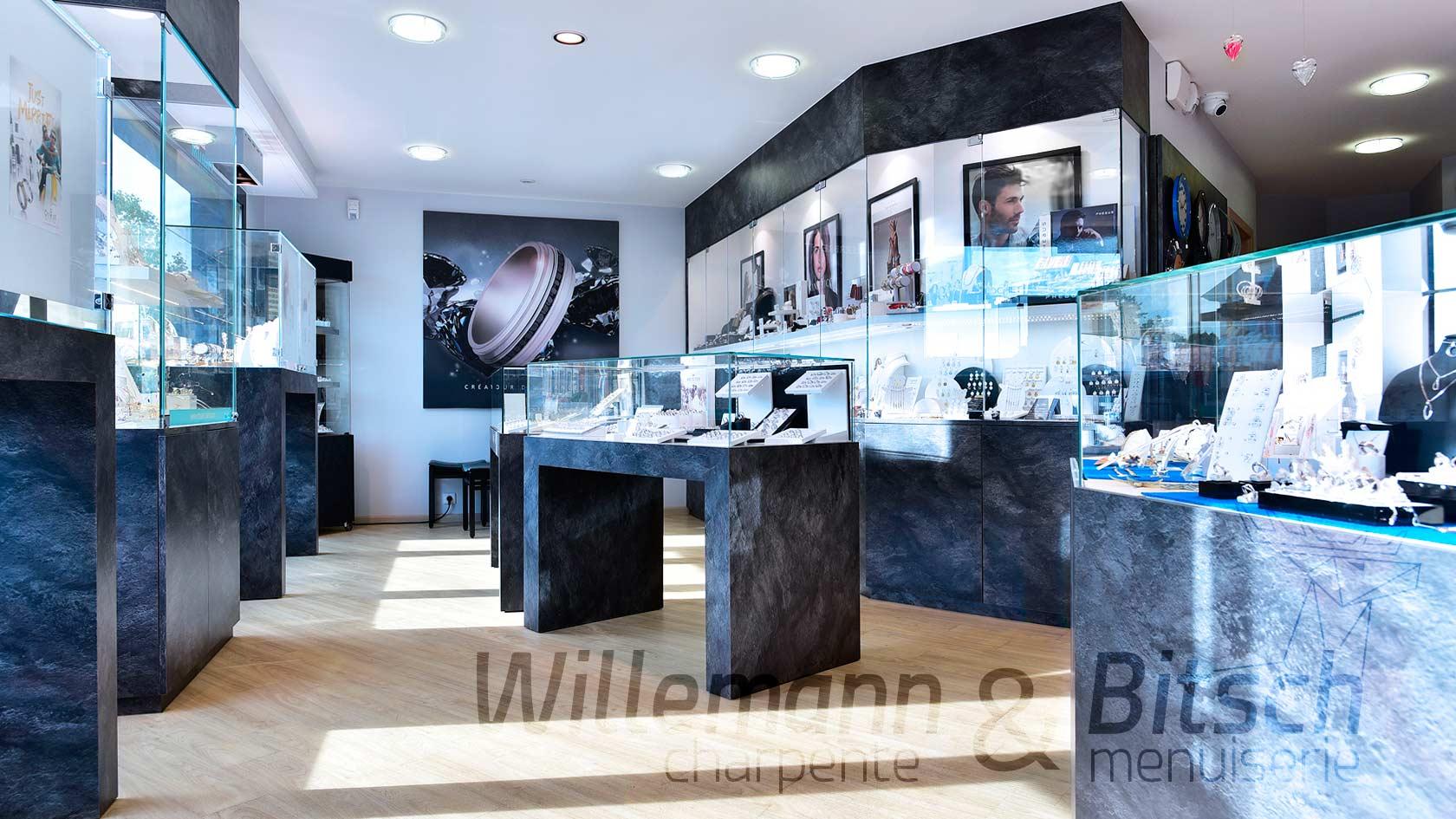 Bijouterie Herbrecht comptoirs magasin vente bois étals présentoirs alsace menuiserie Bitsch